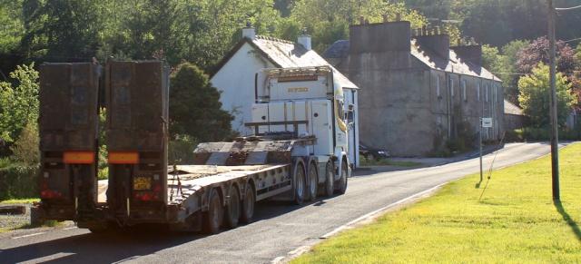 75 huge truck, Bellanoch, Ruth walking the coast of Argyll, Scotland