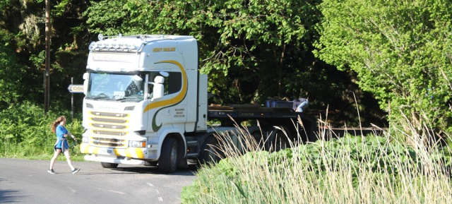76 truck in layby, Ruth walking the coast of Argyll, Scotland