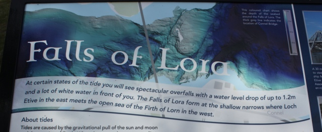 75 notice board, falls of Lora, Ruth's coastal walk, Scotland