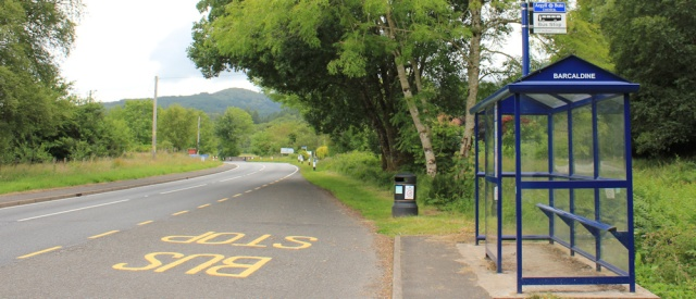 01 Barcaldine bus stop, Ruth hiking in Scotland