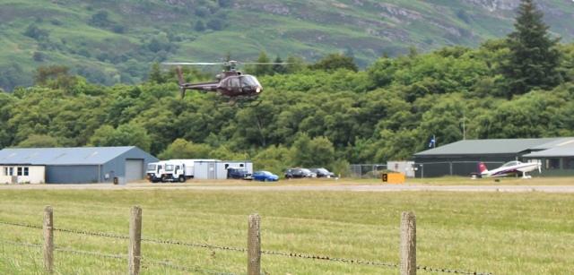 12 helicoptor landing Oban Airport, Ruth Livingstone's walk around the coast of Scotland
