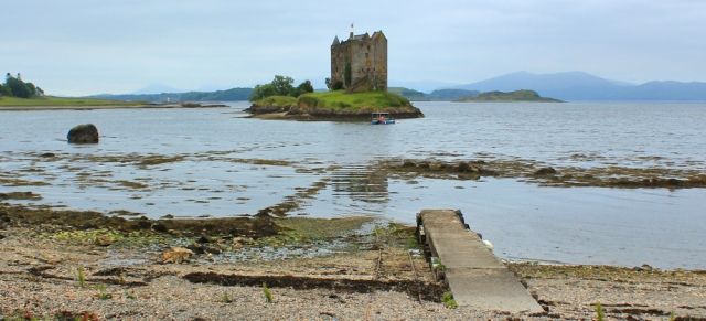 14 Castle Stalker, Ruth hiking the west coast of Scotland