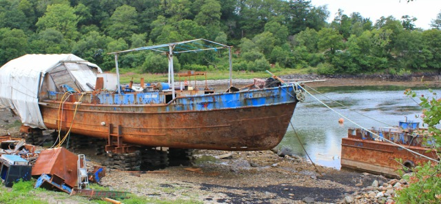 17 rusty boat, The Knap, Ruth walking the Scottish coast
