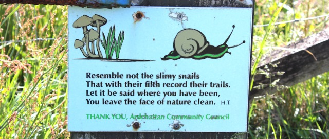 21 xSlimy Snails sign, Ruth's coastal walkaround Scotland