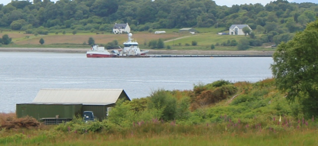 22 ship at the long jetty, Benderloch fish farm, Ruth hiking in Scotland