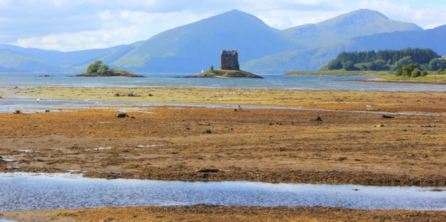 75 Castle Stalker from Jubilee Bridge, Ruth's coastal walk, Scotland, Appin