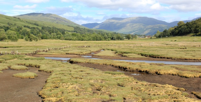 76 marshy land from the Jubillee Bridge, Ruth hiking to Appin, Scotland
