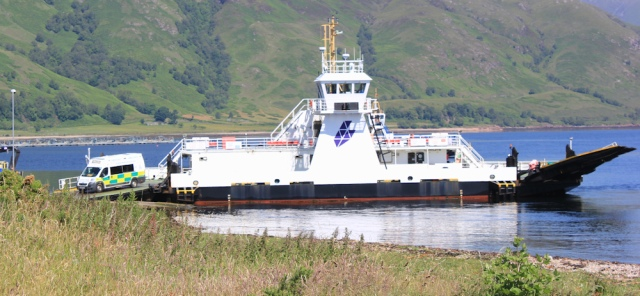 03 Corran ferry and ambulance, Ruth hiking the coast of Scotland