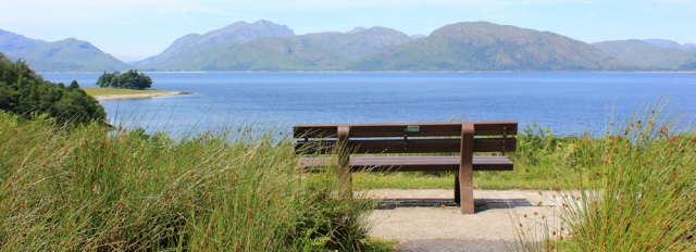 03 great views, bench on the Caldonia Way, Ruth hiking in the Highlands