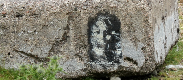 10 fossils and Banksy, on A861, Ruth's coastal walk around the UK, Scotland