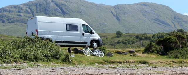 11 camper van, Cuil Bay, Ruth's coastal walk around Scotland