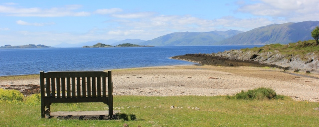 12 bench to Harry and Marie Livingstone, Cuil Bay, Ruth's coastal walk around Scotland