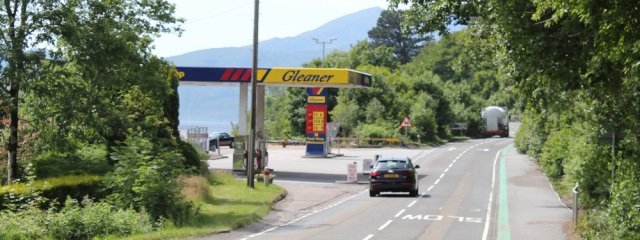 19 petrol station, road to Fort William, Ruth's coastal walk around Scotland