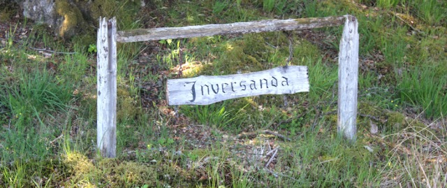 31 rustic Inversanda sign, Ruth's coastal walk around Scotland