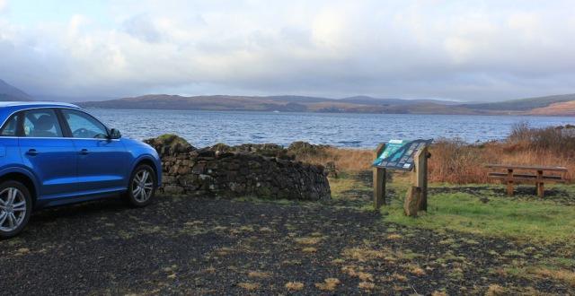 01 wishing stone car park, Ruth hiking around the coast of Scotland