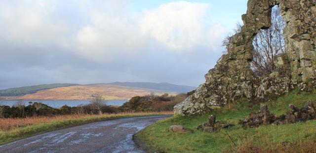 03 past the Wishing Stone, Ruth hiking around the coast of Scotland, Morvern Peninsula