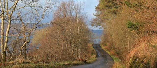 06 winding road to Drimnin, Ruth hiking the coast of Morvern Peninsula