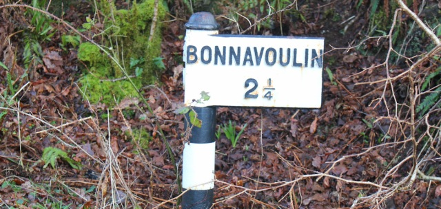 15 Bonnavoulin milepost, Ruth hiking the coast of Morvern Peninsula