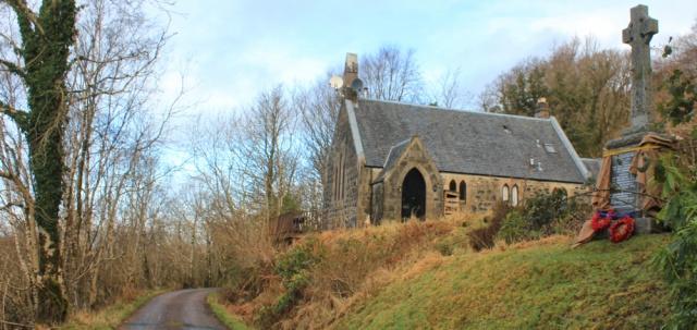 18 church and memorial cross, Ruth hiking the coast of Morvern Peninsula