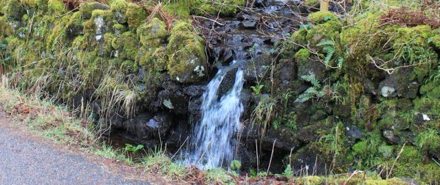 19 roadside waterfall, Ruth hiking the coast of Morvern Peninsula