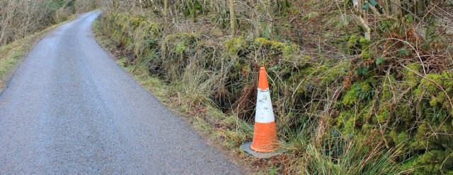 20 roadside cone, Ruth hiking the coast of Morvern Peninsula