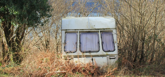 25 old caravan on road to Drimnin, Ruth hiking the coast of Morvern Peninsula