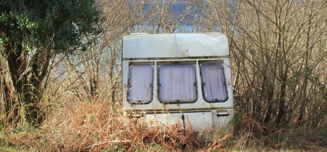25 old caravan on road to Drimnin, Ruth hiking the coast of Morvern Peninsula