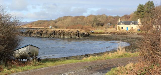 27 shore road at Bunavullin, Ruth hiking the coast of Morvern Peninsula