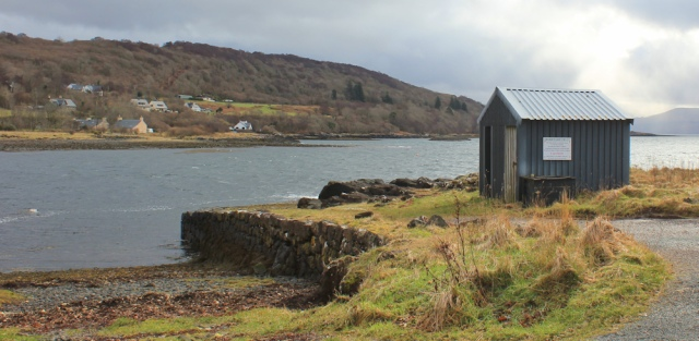31 ferry terminal at Drimnin, Ruth hiking the coast of Morvern Peninsula