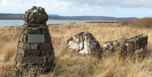 32 Maclean memorial plaque, Drimnin, Ruth hiking the coast of Morvern Peninsula