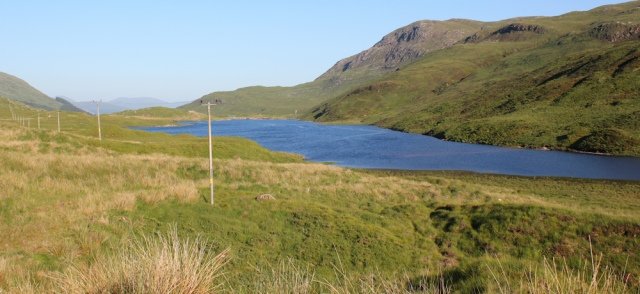 65 Loch Uisge, Ruth hiking from Kingairloch, Morvern, Scotland
