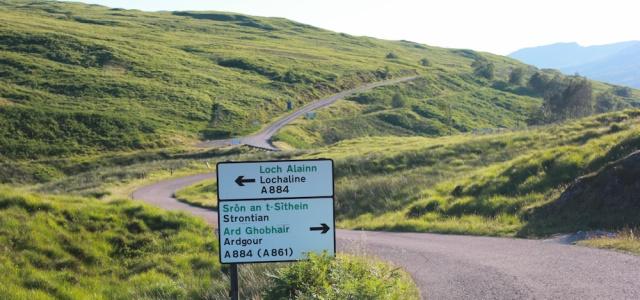 71 crossroads to Lochaline, Ruth's coastal walk, Kingairloch