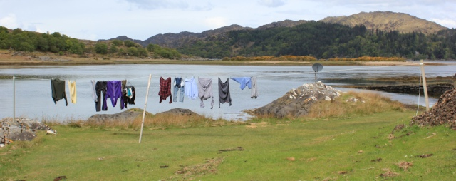 25 washing by the water, Ruth walking towards Tioram Castle, Scotland