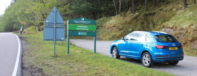 01 carpark at Ardmolich, Ruth hiking in Moidart, Scotland