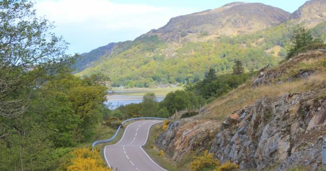 03 road to Kinlochmoidart, Ruth hiking in Moidart, Scotland