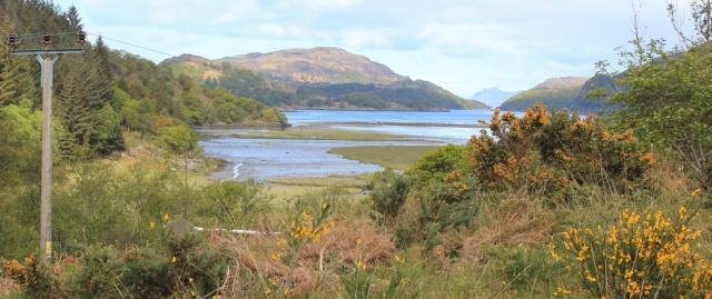 04 view down Loch Moidart, Ruth hiking in Scotland