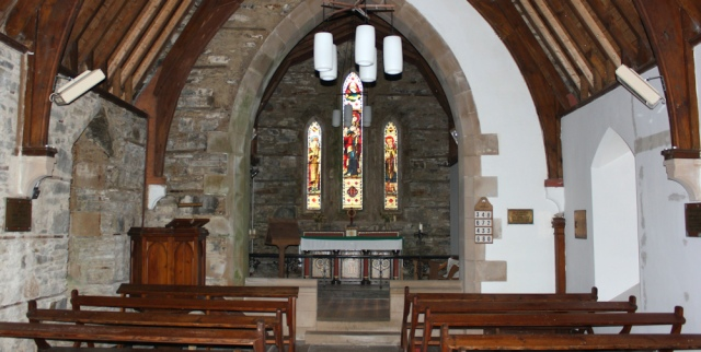09 inside St Finan's Church, Ruth hiking around the coast of Scotland, Moidart