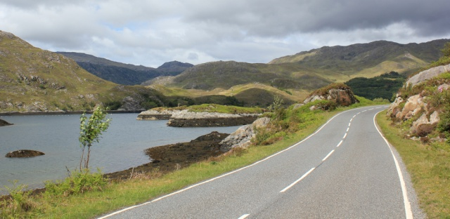 39 dramatic landscape, Ruth walking up Loch Ailort, Scotland