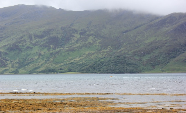 02 Knoydart and Loch Hourn, with motor boat, Ruth's coastal walk around Scotland