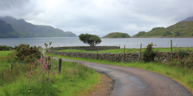 04 dogleg bend on road to Arnisdale, Ruth's coastal walk around Scotland
