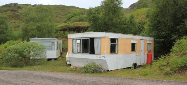 04 static caravans on Loch Morar, Ruth's coastal walk around Scotland