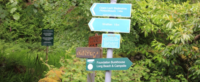 06 signposts, Ruth Livingstone hiking across Knoydart, Scotland