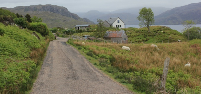 06 view up road, Ruth walking along the shore of Loch Morar