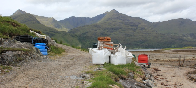07 construction stuff on the track, Barrisdale, Ruth's coastal walk, Knoydart, Scotland