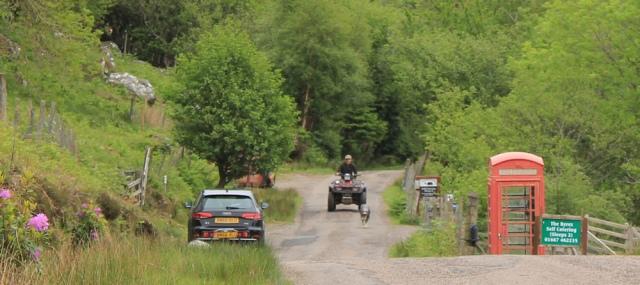 07 farmer and sheepdog, Ruth walking along the shore of Loch Morar