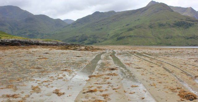 10 tracks on Barrisdale Beach, Ruth's coastal walk, Knoydart, Scotland