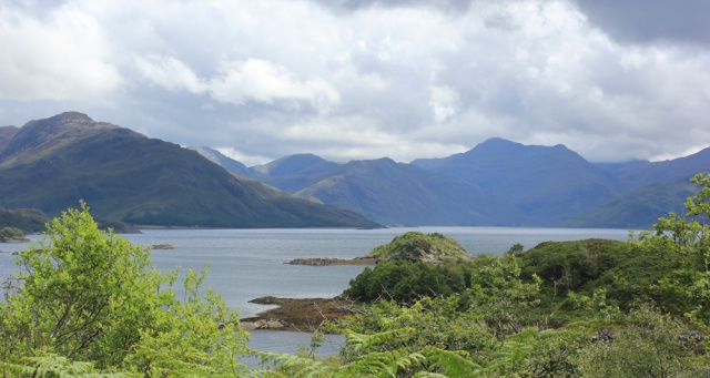 11 over Loch Hourn to Knoydart, Ruth walking the Scottish coast from Arnisdale to Sandaig
