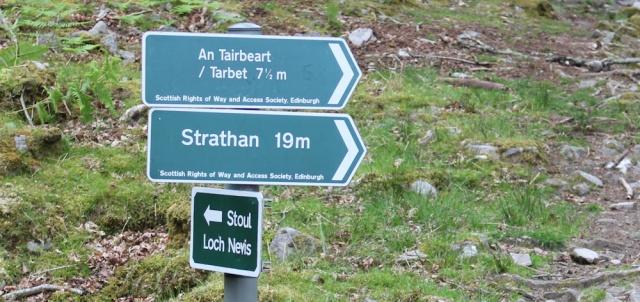 12 path signs, Ruth walking along the shore of Loch Morar