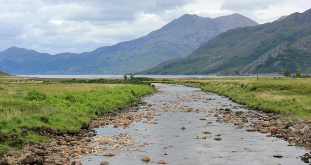 13 view down River Barrisdale to Loch Hourn, Ruth's coastal walk, Knoydart, Scotland
