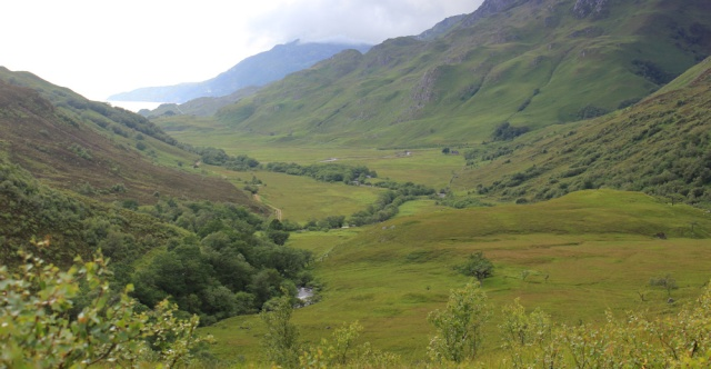 14 view down Glen Arnisdale, Ruth hiking to Corran, Scotland